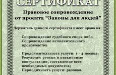 Сертификат на услугу «Сопровождение судебного спора или ИП»